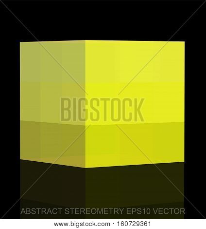 Abstract stereometry: low poly Yellow Cube. 3D polygonal object, EPS 10, vector illustration.