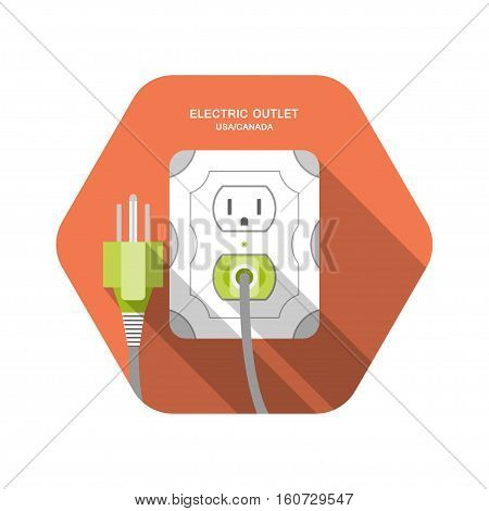 Electric outlet type B vector isolated icon with the inserted green plug on the red hexagon background with shadow.