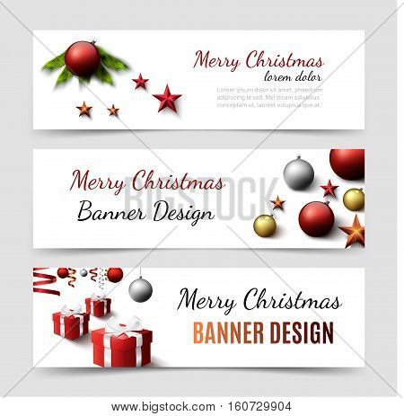 Set of christmas horizontal banner templates. Vector website design. Modern holyday banners eps 10