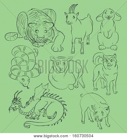 image of a dragon dog goat pig rabbit sheep snake and tiger - suitable for a child's coloring and not only. For your convenience each significant element is in a separate layer. eps10