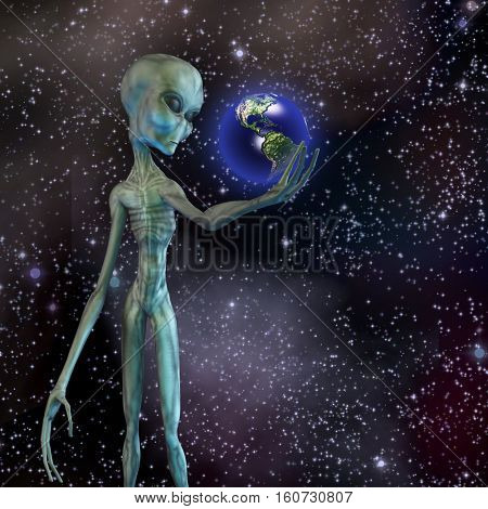 Alien being ponders earth  3D Render  Some elements provided courtesy of NASA