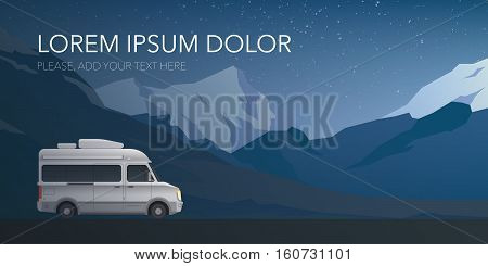 Beautiful mountain landscape web banner with modern small size camper van motor home. New flat realistic style. Poster or banner for your web design. Vector illustration.