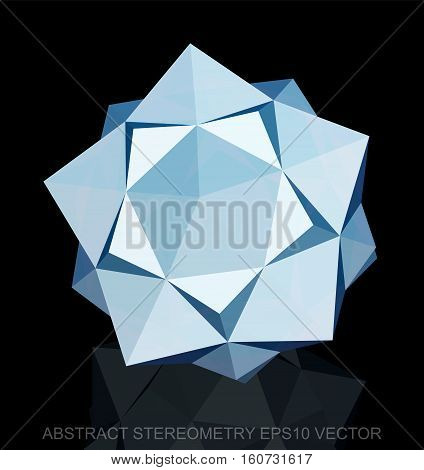 Abstract geometry: low poly White Dodecahedron. 3D polygonal object, EPS 10, vector illustration.