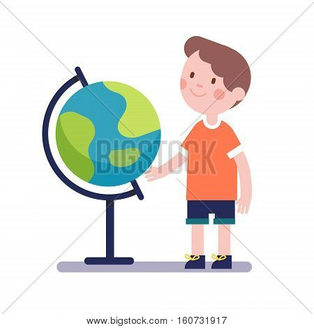 Boy learning geography with earth terrestrial globe. Kid character. Modern flat vector illustration clipart.