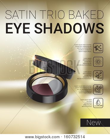 Eye shadows ads. Vector Illustration with set color palette with eye shadows.