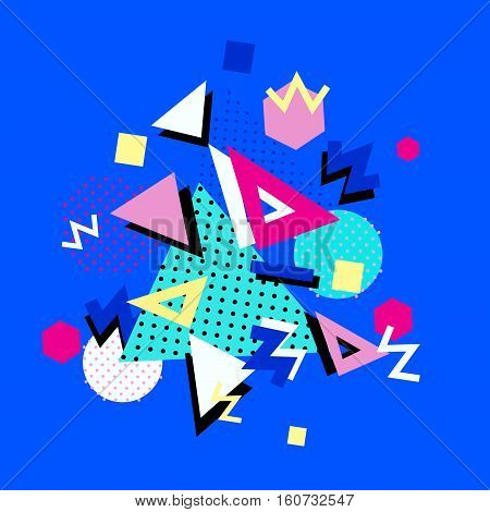 Memphis trendy design with geometric shapes. Abstract 1980-90 styles or memphis style. Geometric hipster poster background. Vector illustration stock vector.
