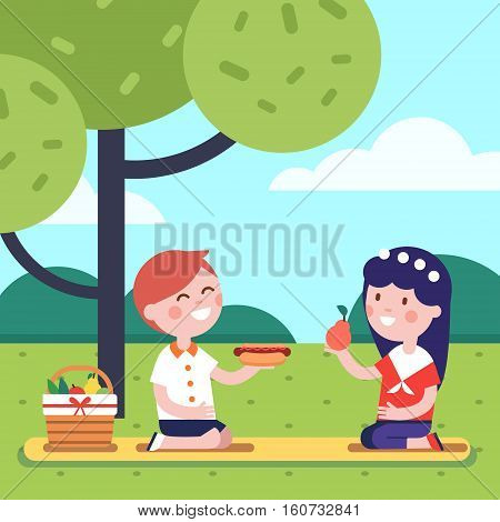Boy and girl kids having lunch picnic under the park tree. Smiling kids characters. Modern flat vector illustration clipart.