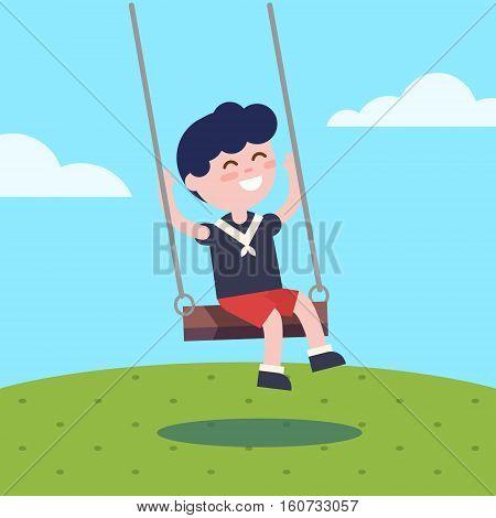 Boy swinging on a rope swing. Modern flat vector illustration clipart.