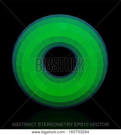 Abstract stereometry: low poly Green Torus. 3D polygonal object, EPS 10, vector illustration.