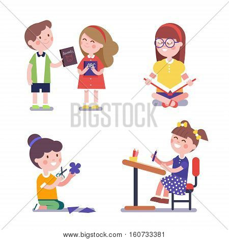 Various learning and studying kids set. Modern flat style illustration. Cartoon character clipart.