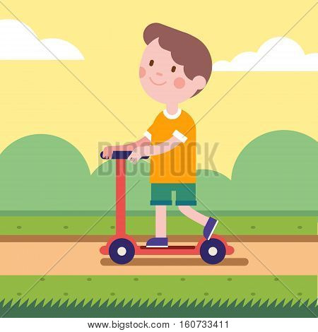 Boy riding a kick scooter on a park road. Smiling kid character. Modern flat vector illustration clipart.