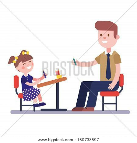 Teacher or home tutor studying with his girl pupil sitting at school desk. Modern flat vector illustration. Cartoon character clipart.
