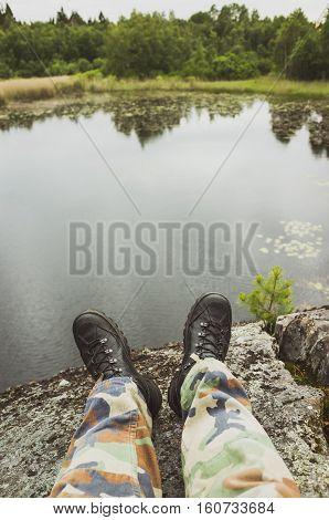 Male Feet In Camouflage, Lake Coast