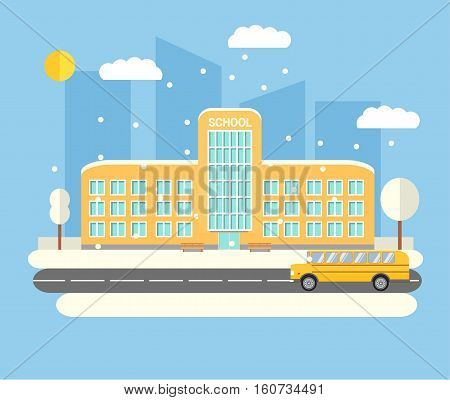 Vector flat City Winter landscape with the schoolhouse and bus.Cartoon school banner or poster design.Education