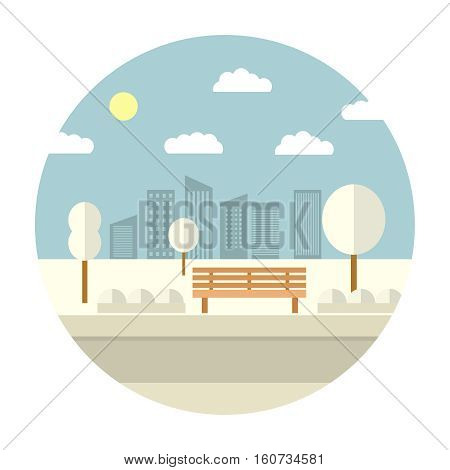 Flat illustration with the image of park with a bench and trees in the afternoon.Winter landscape.beautiful winter city park with town building background.Evening in the park.