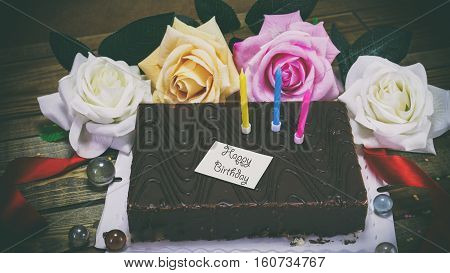 Birthday Cake With Candles And Flowers, A Note On The Paper
