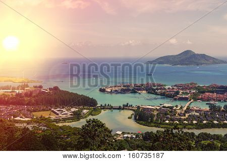 Tropical Seychelles. Palm trees on the island of Mahe