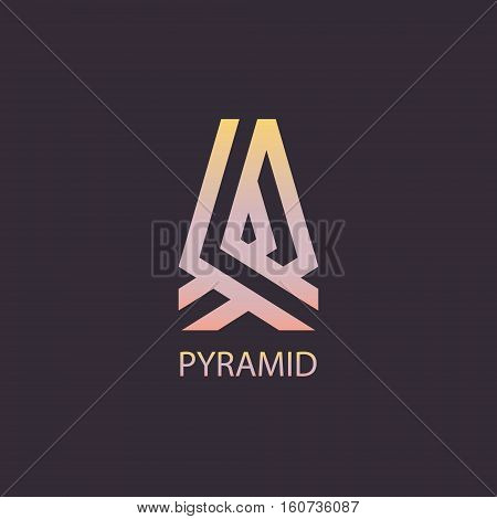 Vector pyramid logo. Symbol pyramid on a dark background.
