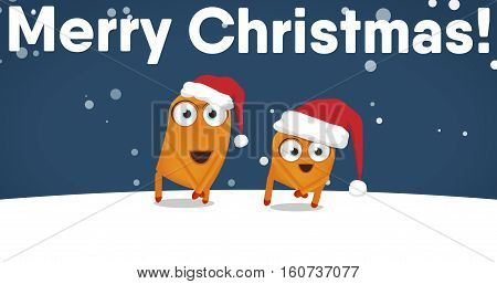 Two Upsies (Upsy character) dancing crazy funny Christmas dance. Snowy night and Merry Christmas! sign