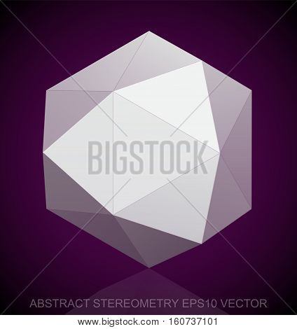 Abstract geometry: low poly White Octahedron. 3D polygonal object, EPS 10, vector illustration.