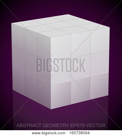 Abstract stereometry: low poly White Cube. 3D polygonal object, EPS 10, vector illustration.