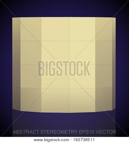 Abstract geometry: low poly Yellow Cylinder. 3D polygonal object, EPS 10, vector illustration.