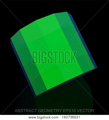Abstract geometry: low poly Green Cylinder. 3D polygonal object, EPS 10, vector illustration.