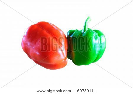 Fresh vegetables sweet Pepper (Also called as bell pepper capcicum anuum Linn round pepper big pepper or green pepper) isolated on white background