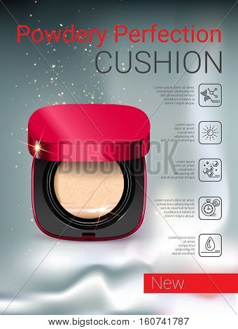 Powder cushion ads. Vector Illustration with powder cushion container.