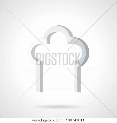 Symbol of arch trefoil shape. Architecture decorative elements for building construction design, windows and doorway. Flat color style vector icon.
