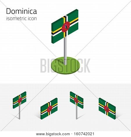 Dominica flag (Commonwealth of Dominica) vector set of isometric flat icons 3D style different views. Editable design elements for banner website presentation infographic poster map. Eps 10