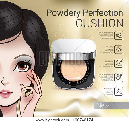 Powder cushion ads. Vector Illustration with Manga style girl and powder cushion container.