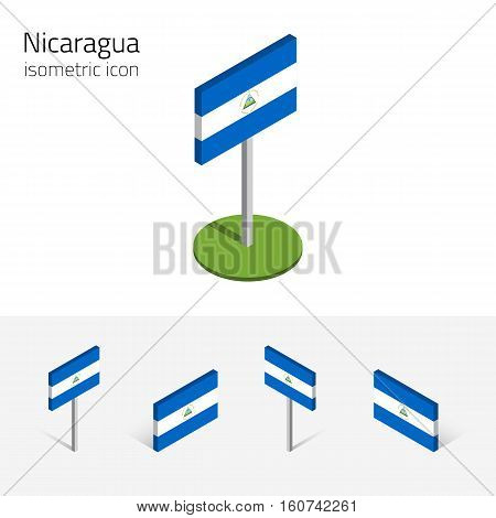 Nicaraguan flag (Republic of Nicaragua) vector set of isometric flat icons 3D style different views. Editable design elements for banner website presentation infographic map collage. Eps 10