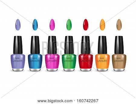 Nail polish in different colors. Vector illustration of realistic nail polish in glass bottles isolated on white background.