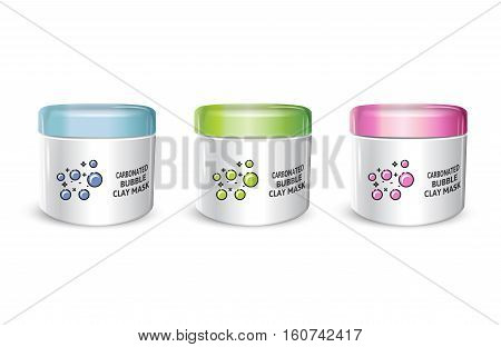Carbonated Bubble Clay facial Mask in different color of packages. Vector illustration of realistic carbonated bubble mask containers isolated on white background.