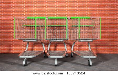 A line of shopping carts beside a wall and near the parking lot. 3d render