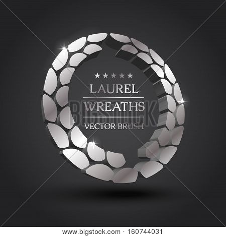 Wreath vector icon set .Laurel wreaths symbol of victory, glory and success. 3d vector illustration. Design element. Top places. Gold, silver, bronze laurel wreath.