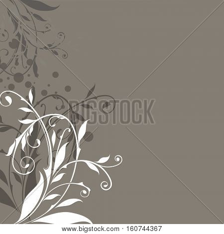 Abstract floral vintage beige background with copy space.