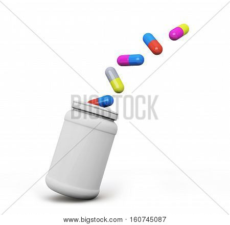 pills fly out of medical bottle on white background 3d render