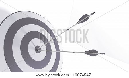 3d rendering gray arrow and bullseye illustration