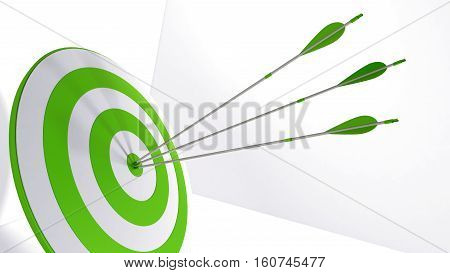 3d rendering green arrow and bullseye illustration