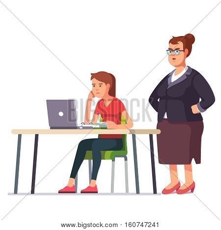 Fat boss woman looking over a shoulder on a weary, sleepy and exhausted employee working on a laptop computer sitting at office desk. Flat style color modern vector illustration.