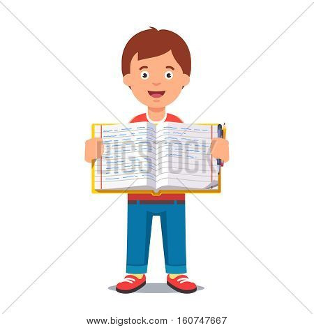 Cute little boy holding an open school workbook with handwriting. Flat style color modern vector illustration.