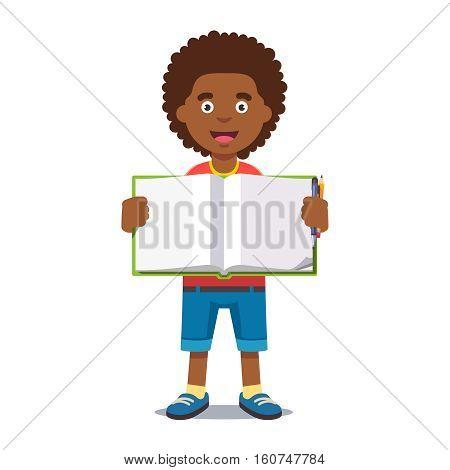 Cute little boy holding an open school book handwriting. Flat style color modern vector illustration.