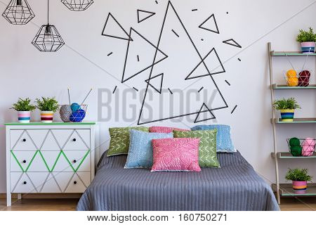 Bedroom With Colourful Bed