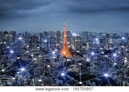 Smart city scape and network connection concept wireless signal of internet in business city. internet connection.social on line business