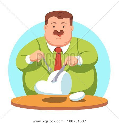 Big fat greedy corporate business man eating a cloud by slicing it with knife and fork. Cloud computing market share takeover. Flat style vector illustration clipart.