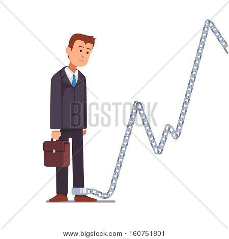 Trader businessman or shareholder chained to a market share chart chain. Business slavery concept. Flat style vector illustration clipart.