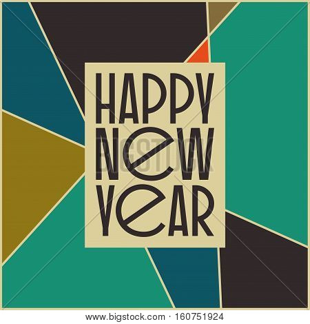 Abstract vintage mid century new year's card design. Abstract geometric space background.