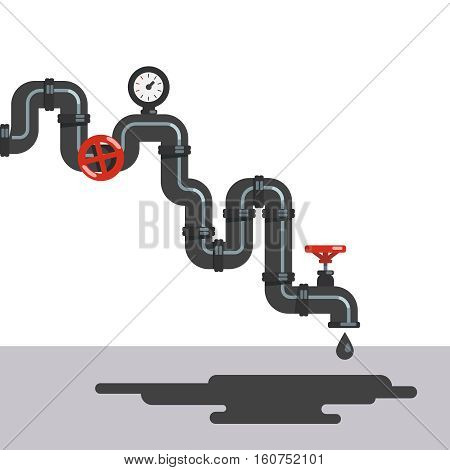 Twisting crude oil pipe line with gauge and valves. Petroleum fuel dripping from pipeline tap. Flat style vector illustration clipart.